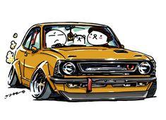 "car illustration ""crazy car art"" jdm japanese old school ""TE27 "" original characters ""mame mame rock"" / © ozizo ""Crazy Car Art"" Line stickers LINE STORE http://line.me/S/shop/sticker/author/92016"