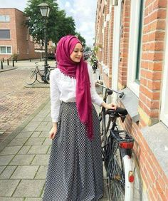 Pinterest: @eighthhorcruxx. Long Skirt, white top and bright hijab