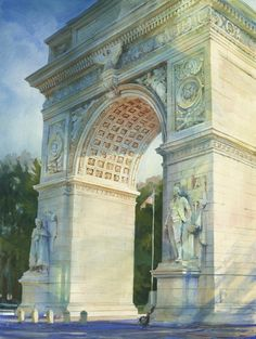 Washington Arch, New York, 2012 by Alexander Creswell, who paints some of the largest sized watercolor paintings with such skill.