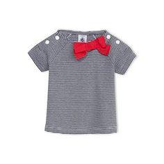 Petit Bateau US Official Online Store, Baby girl milleraies tee with bow, noctambule ecume, Baby Girl : Daywear, 12479