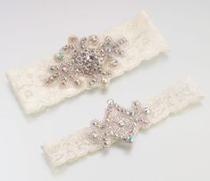 Jeweled Garter Set -Ivory Bridal Garters This beautiful set includes two jeweled ivory lace garters. There is a wide (keepsake) and small (tossing) garter, Ivory Bridal Garter, Bride Garter, Wedding Garter Lace, Lace Garter, Bridal Accessories, Bridal Jewelry, Garter Toss, Lillian Rose, Rhinestone Appliques