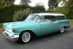 1957 Oldsmobile Fiesta Teal & White Station Wagon.