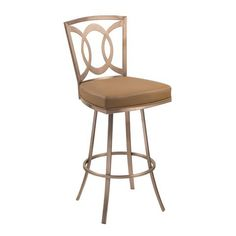 "Drake 30"" Contemporary Swivel Barstool In Camel and Gold Finish 