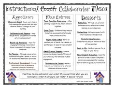 INSTRUCTIONAL COACHING MENU - TeachersPayTeachers.com