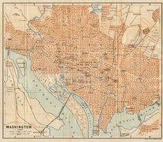 USAMAPS Washington Chicago Philadelphia Vintage colour map
