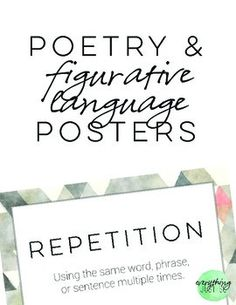 FREE  **These posters were designed for use with my  Poetry and Figurative Language Mini-unit.       There are 13 posters - one for each term that is covered in the packet. Each poster gives the definition of the term and most list an example. Can be used for bulletin boards, cover pages on packets, in learning centers, etc.