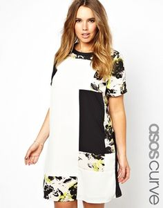 ASOS CURVE Exclusive T-Shirt Dress With Patchwork Floral