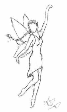 Fairy Drawings, Art Drawings Sketches Simple, Pencil Art Drawings, Cool Drawings, Easy Fairy Drawing, Indie Drawings, Drawing Ideas, Easy People Drawings, Pencil Sketch Drawing