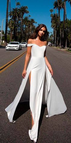 33 Romantic Off The Shoulder Wedding Dresses ❤ off the shoulder wedding dresses simple sweetheart neck with side high slits alamour the label ❤ See more: http://www.weddingforward.com/off-the-shoulder-wedding-dresses/ #weddingforward #wedding #bride
