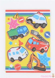 yellow fire engine ~ engine yellow _ yellow engine bay _ molly the yellow engine _ yellow fire engine Small Envelopes, Paper Envelopes, Japanese Stationery, Yellow Paper, Letter Set, Fire Engine, Police Cars, Cute Designs, Engineering