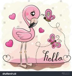Cute Flamingo with hearts and butterflies. Cute Cartoon Flamingo with hearts and butterflies vector illustration How To Draw Flamingo, Flamingo Craft, Cartoon Drawings Of Animals, Cute Cartoon Animals, Cute Cartoon Girl, Cute Clipart, Free Clipart Images, Cute Illustration, Fabric Painting