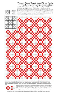 Double Irish Chain Patch Pattern based on one Laura Ingalls Wilder made with her daughter Rose. Irish Chain Quilt, Two Color Quilts, Red And White Quilts, Nine Patch Quilt, Quilt Block Patterns, Quilt Blocks, Traditional Quilts, Vintage Quilts, Quilt Tutorials
