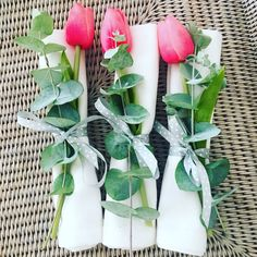 Pink and green is a beautiful colour combination and the little touch of natural foliage combined with a faux tulip to last makes this a winner all round! Beautiful Color Combinations, Tablescapes, Pink And Green, Tulips, Gift Wrapping, Baby Shower, Entertaining, Touch, Colour