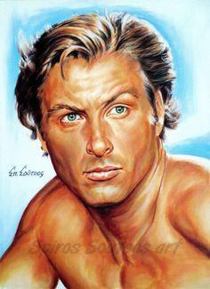 "Lex Barker ""Tarzan Of The Apes"" portrait painting, original movie poster art"