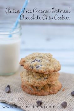 These gluten free coconut oatmeal chocolate chip cookies are sinfully good and you may find it hard to eat just one. Quick and easy to make.