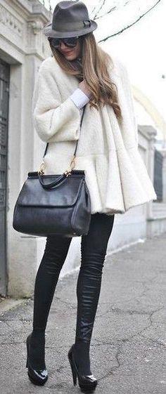 #winter #fashion / fluffy knit coat + leather