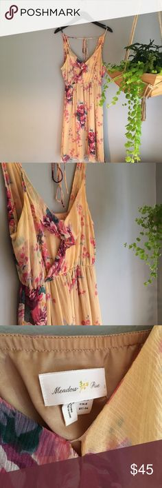 Anthropologie Meadow Rue Yellow Silk Chiffon dress Yellow silk chiffon floral sundress by Meadow Rue from Anthropologie. Pull-over style. Elastic waist. Adjustable straps and romantic ruffles along neckline. Polyester lining. Excellent condition. Anthropologie Dresses