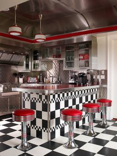 Diner after the football game? retro-diner-style-black-and-white-tiles-floors-red-cococola-vintage-retro-eclectic-kitchen. Diner Decor, Retro Kitchen Decor, Eclectic Kitchen, Retro Home Decor, Vintage Kitchen, Retro Kitchens, Funky Kitchen, Kitchen Ideas Red, 50s Style Kitchens