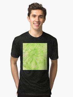 'Green Dandelion ' Tri-blend T-Shirt by Niina Niskanen Green Art, Vintage Looks, Wearable Art, Female Models, Dandelion, Moisturizer, Shirt Designs, Artists, The Originals