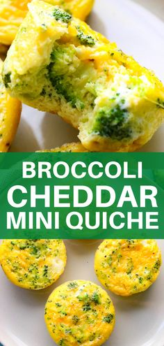 Delicious Mini Crustless Broccoli and Cheddar Quiche! Cheesy eggs filled with steamed broccoli and baked until fluffy and delicious. Perfect for meal prep! Veggie Recipes Low Calorie, Low Calorie Lunches, Low Calorie Dinners, Low Carb Vegetarian Recipes, Filling Low Calorie Meals, Diet Recipes, Vegan Recipes, Mini Quiche Recipes, Vegetarian Recipes