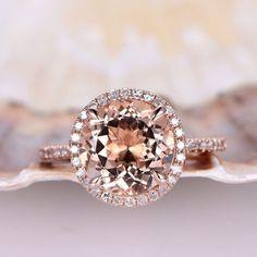 Morganite Engagement Ring Morganite Ring Rose Gold 8mm Round Cut Pink Gemstone Bridal Ring 14K Diamond Wedding Band Halo Prong Set by PENNIjewel on Etsy https://www.etsy.com/listing/503691896/morganite-engagement-ring-morganite-ring #diamondhaloring #weddingring