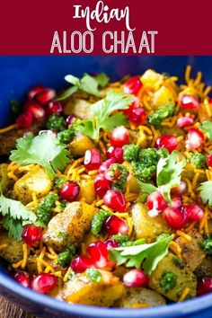Aloo Chaat is a delicious, popular Indian street food item. This aloo chaat reci… Aloo Chaat is a delicious, popular Indian street food item. This aloo chaat recipe is made with fried potatoes and topped with sev, pomegranate seeds, and green chutney. Indian Salads, Indian Appetizers, Indian Snacks, Indian Food Recipes, Vegetarian Recipes, Aloo Tikki Recipe, Dahi Vada Recipe, Bhel Recipe, Green Chutney Recipe