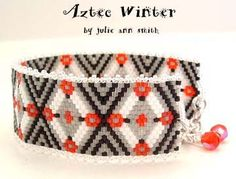 AZTEC WINTER BRACELET PATTERN by Julie Ann Smith Designs at Bead-Patterns.com