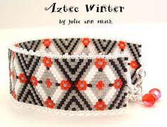 AZTEC WINTER BRACELET PATTERN by Julie Ann Smith Designs at Bead-Patterns.com