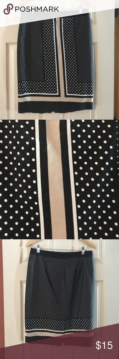 polka dot skirt stripes are light beige and polka dots are white perfect paired with