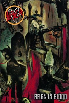An awesome poster of the album cover art from the Slayer LP Reign in Blood - a classic of thrash metal! Check out the rest of our great selection of Slayer posters! Need Poster Mounts. Hard Rock, Rock Bands, Metal Bands, Extreme Metal, Thrash Metal, Woodstock, Tom Araya, Blood Wallpaper, Reign In Blood