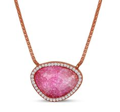 Dizeo sterling silver necklace with 18K rose gold overlay set with lab created diamonds and stones.