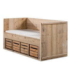 Juniorbed peuterbed steigerhout behandeld met greywash jorg s houten meubelen peuterkamer - Loft bed met opbergruimte ...