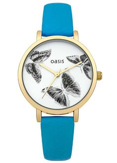 Oasis Ladies Blue Strap Watch with White Butterfly Dial
