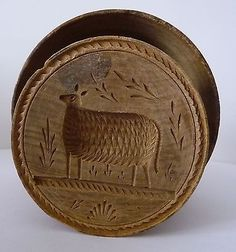 Folk Art 19th Century Carved Sheep Treen Wood Butter Stamp Print Press Mold | eBay