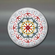 mandala fridge magnet colourful art magnet red and by WallCakes