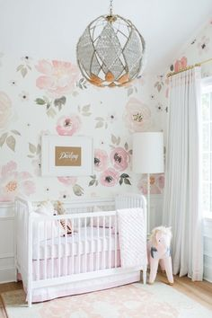 Touring Monika Hibbs's Oh-So Sweet Blush Pink Nursery Here are 33 adorable nursery ideas for you! Super cute baby boy nursery room ideas - I LOVE a rustic nursery - for boys OR for girls! Baby Bedroom, Baby Room Decor, Nursery Room, Girls Bedroom, Baby Girl Nursery Wallpaper, Baby Rooms, Nursery Floral Wallpaper, Floral Nursery, Bedroom Wallpaper