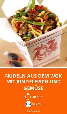 Nudeln aus dem Wok mit Rindfleisch und Gemüse Noodles from the wok with beef and vegetables – smarter – calories: kcal – time: 40 min. Mexican Chicken Recipes, Turkey Recipes, Meat Recipes, Asian Recipes, Gourmet Recipes, Rabbit Recipes, Vegetable Drinks, Vegetable Recipes, Healthy Eating Tips