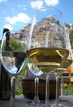 wine and Positano, Italy