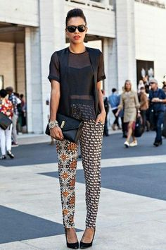 nyfw – the printed pants - Street style. African Attire, African Wear, African Style, African Street Style, African Women, African Print Fashion, Fashion Prints, African Prints, African Print Pants