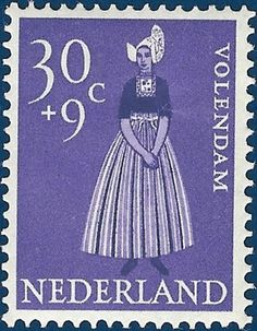 P8 Buttons & Fabrics: Traditional Costumes : Postage Stamps Holland 1958 #NoordHolland #Volendam