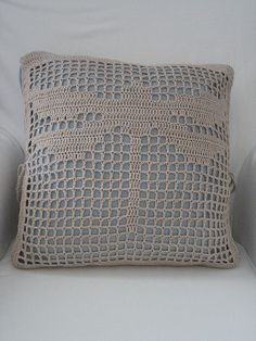 Filet crochet cushion