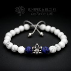 MEns Bracelet, 8mm White Howlite ,  Blue Jasper , Fleur De Lis Figure , Adjustable Mens Bracelet, Gemstone Bracelet, Royal, Unisex by JUNIPERANDELOISE on Etsy