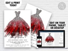 Editable Quinceanera Invitation Sweet 16 Watercolor Red Dress Silver Glitter Instant Download Printable Corjl Template Quince Invite Christmas Card Template, Funny Christmas Cards, Christmas Humor, 21st Birthday Invitations, Party Invitations, Invites, Quinceanera Invitations, Watercolor Red, Glitter Party