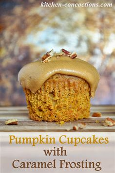 Pumpkin Cupcakes with Caramel Frosting #recipe #pumpkin #dessert #cupcakes