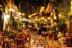 The Plaka, Athens Nestled under the Sacred Rock of the Gods (The Acropolis) this is the oldest part of Athens...A village of its own within the mega-city...I spent many hours here, shopping and sightseeing in the day and going to the quaint little night spots at night