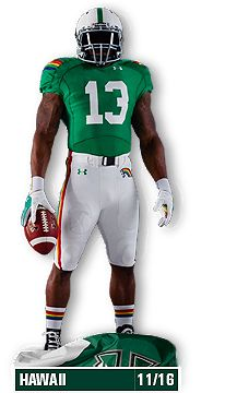 New Official 2013 College Football Uniforms - Under Armour - Hawaii Rainbow Warriors