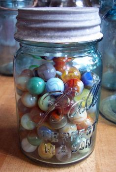 Marbles in a Blue Pint Ball Jar with a Zinc Lid via Etsy