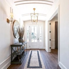 Entry ways house beautiful: crushing on this beautiful and bright foyer on Entry Foyer, Entryway Decor, Entryway Ideas, Entryway Chandelier, Foyer Lighting, Hallway Ideas, Style At Home, Home Renovation, Home Remodeling