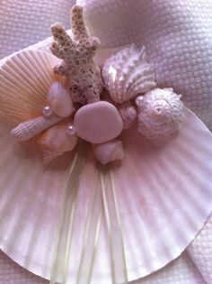 Sea Shell Ring Bearer Pillow  Coral Pearl Seashell by caroledoc, $25.00