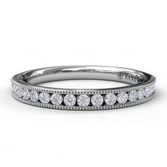 ($1160) Fana milgrain channel wedding band - Matching wedding band to S3474. The wedding band contains 0.29 carat total weight of round brilliant cut diamonds. #fana #weddingbands #milgrain #channel